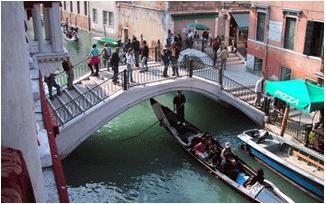 Venice canal, bridge and gondolier