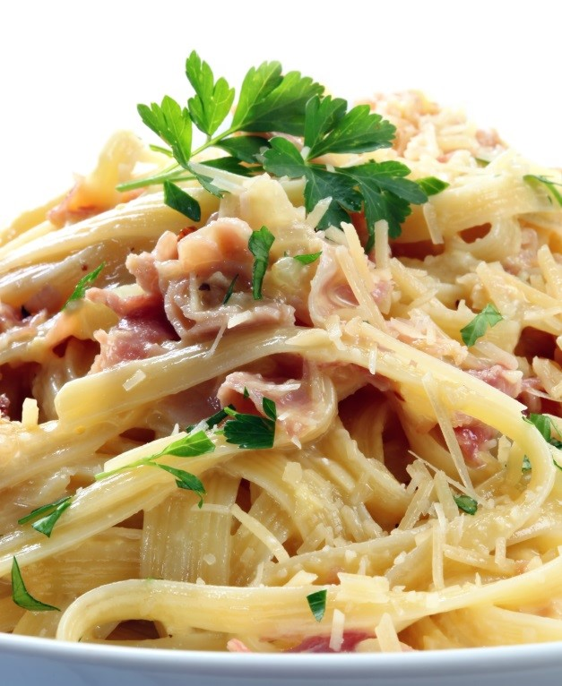 Fettucine with Cream and Bacon