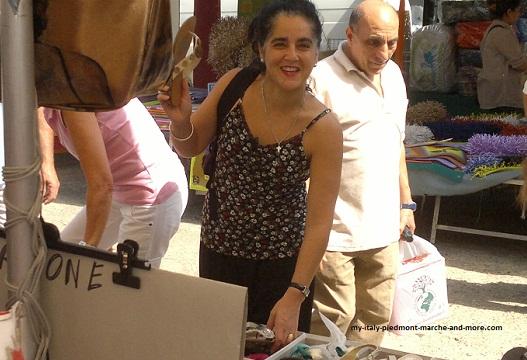 Italian shopping at  clothes  markets