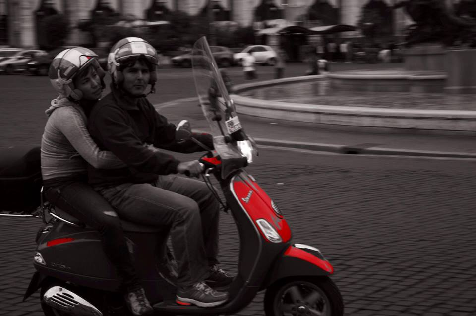 Couple on a Vespa - Rome Italy