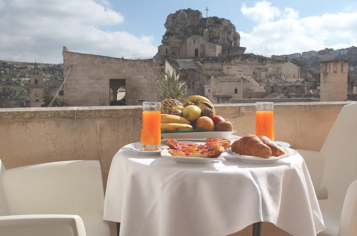 Matera, breakfast at the Caveoso Hotel