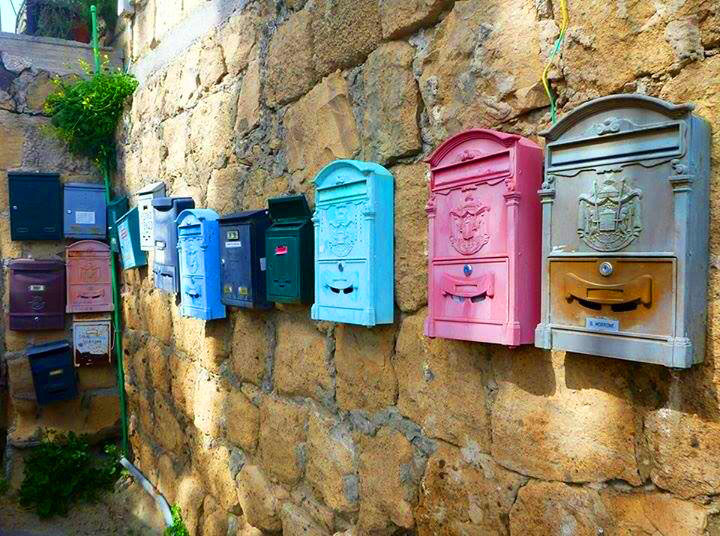 Colorful post boxes on the island of Procida
